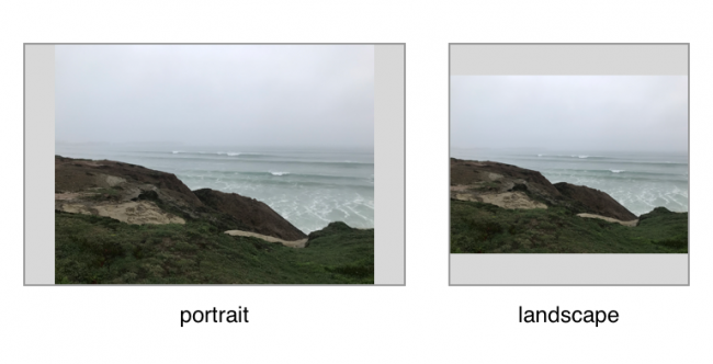 Image of seashore shown in landscape and portrait layouts