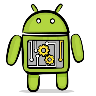 Image of Android with gears inside its stomach