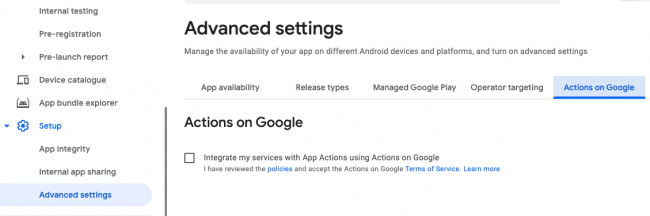 Actions on Google tab selected in Advanced Settings