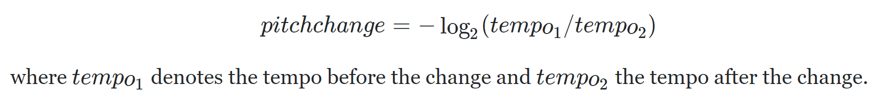 pitchchange = -log(2)(tempo1/tempo2) where tempo1 denotes the tempo before the change and tempo2 the tempo after the change.