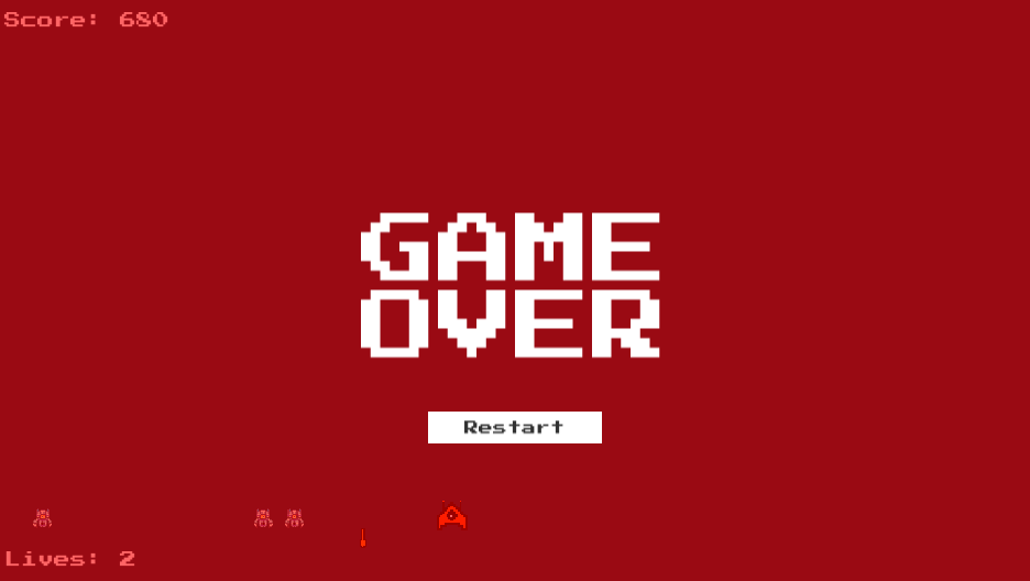The Game Over panel showing after invaders reached below the cannon's position.