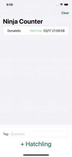 NinjaCounter app showing data