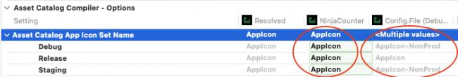 App build settings