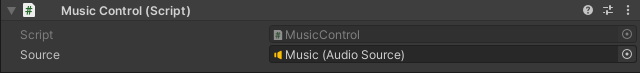 The Inspector for the Music Control component