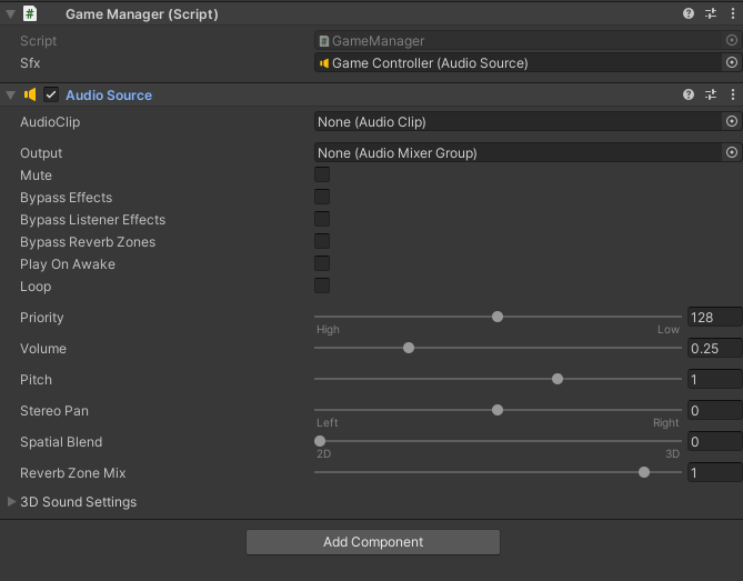 Inspector window showing Game Controller's Audio Source component.