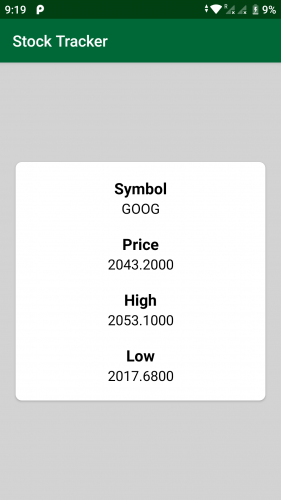 Stock Tracker screen showing results for GOOG stock