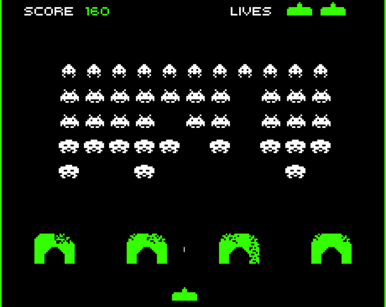 The classic Invaders arcade game.