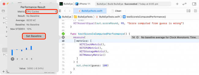 iOS Unit Testing: Viewing Performance Result