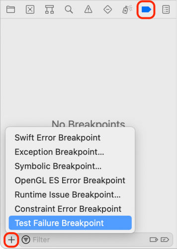 iOS Unit Testing: Adding a Test Failure Breakpoint