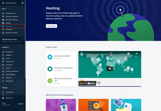 Firebase console showing the Hosting service under Build category