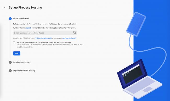 Set of instructions to set up Firebase Hosting