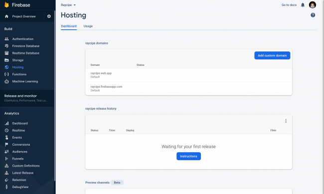 Firebase Hosting Dashboard after a successful setup showing two Firebase custom domains