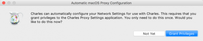 Charles Proxy prompt for automatic network settings configuration