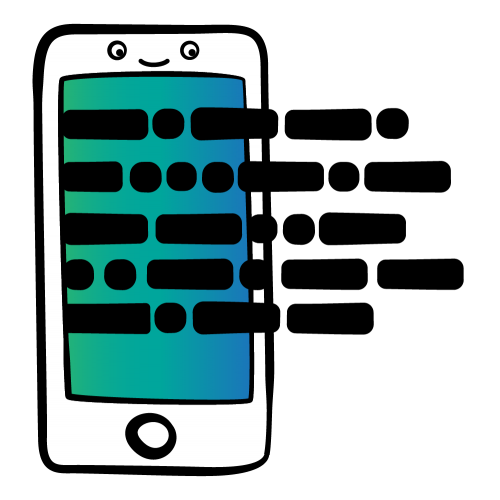 Happy cartoon iPhone with blue-green gradient screen of stylized network activity