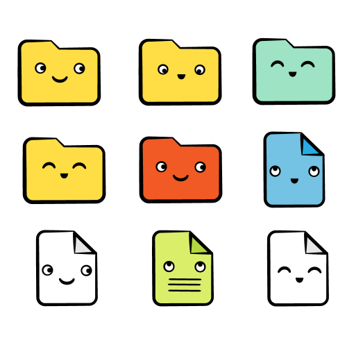 Colorful, happy cartoon folders and files representing Charles data mirrored to disk