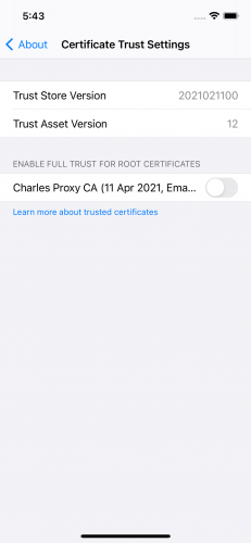 Certificate Trust Settings screen