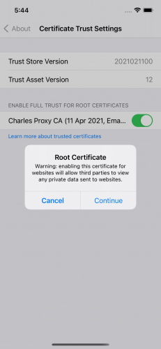 Root certificate warning
