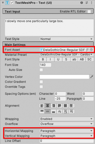 Font settings for cardboard material preset