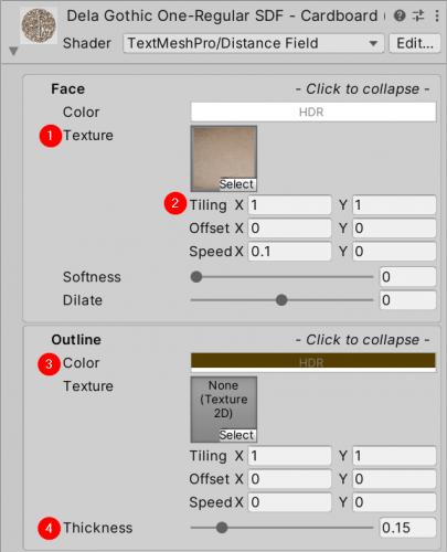 Cardboard material preset settings