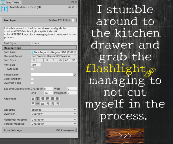 Yellow flashlight icon inline with text