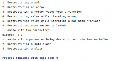 The initial output of the destructuring declarations starter project
