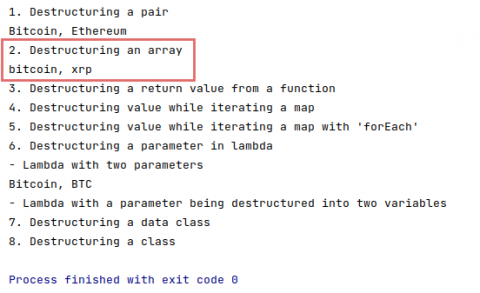 The output of destructuring declarations of an array