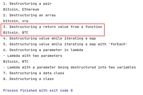 The output of destructuring declarations of a function