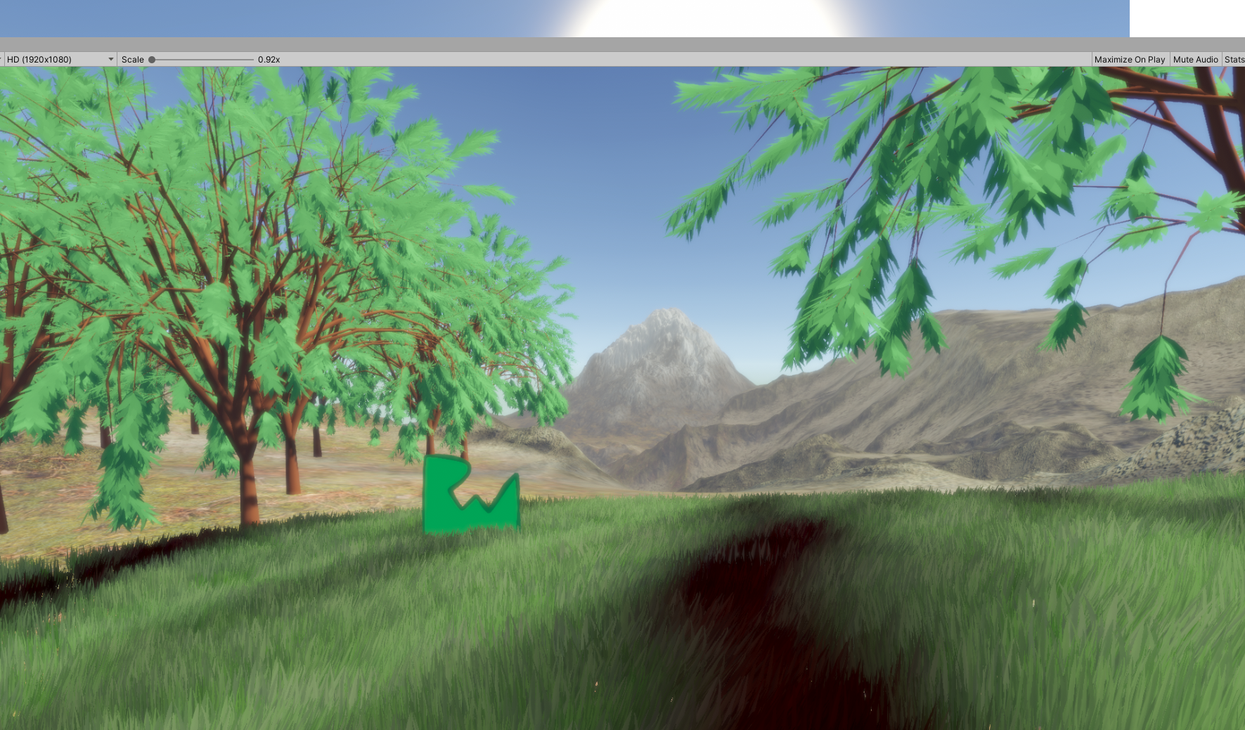 Mountains with two trees with leaves on them