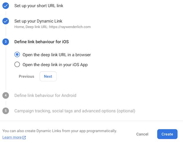 Dynamic link behaviour per platform