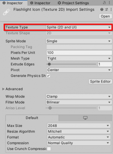Import Settings for the Unity icon
