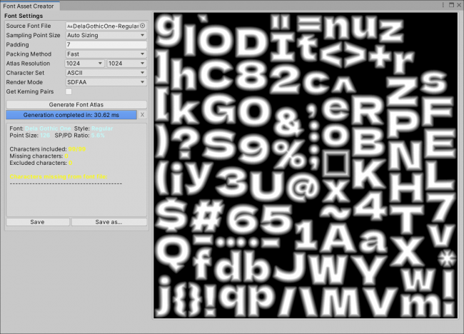 Font Atlas created for TextMesh Pro