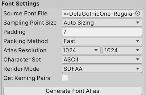 Font Asset creation settings