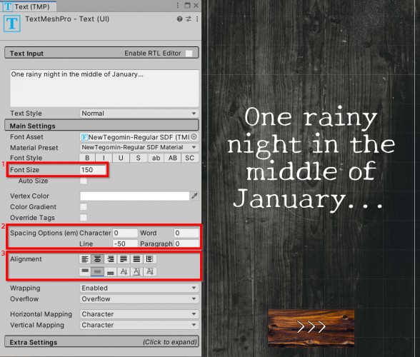 How to set font size, spacing and alignment