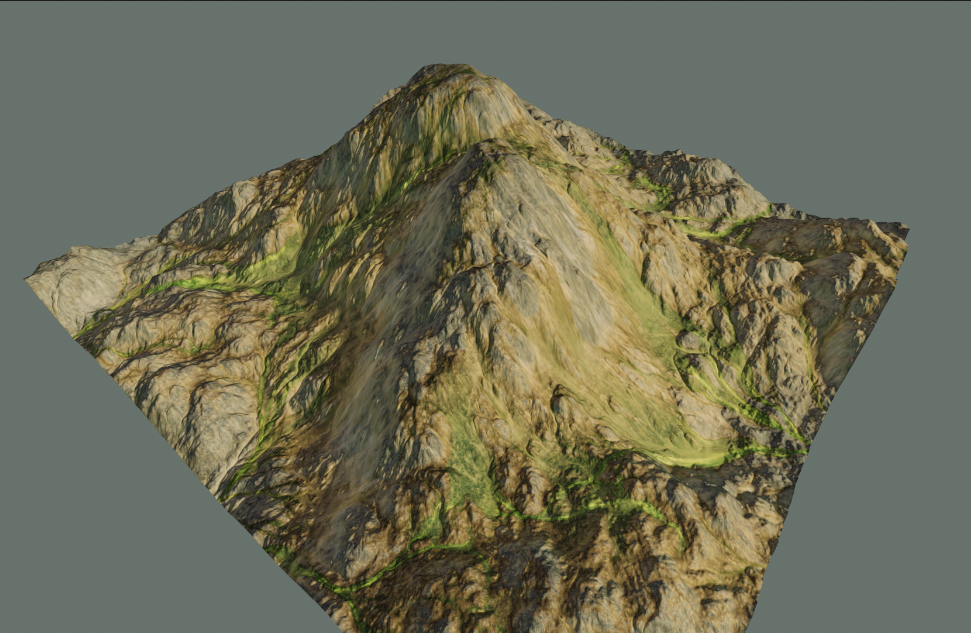 an image showing a mountain with the texture applied