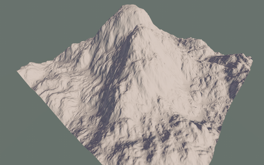 A mountain created from heightmaps