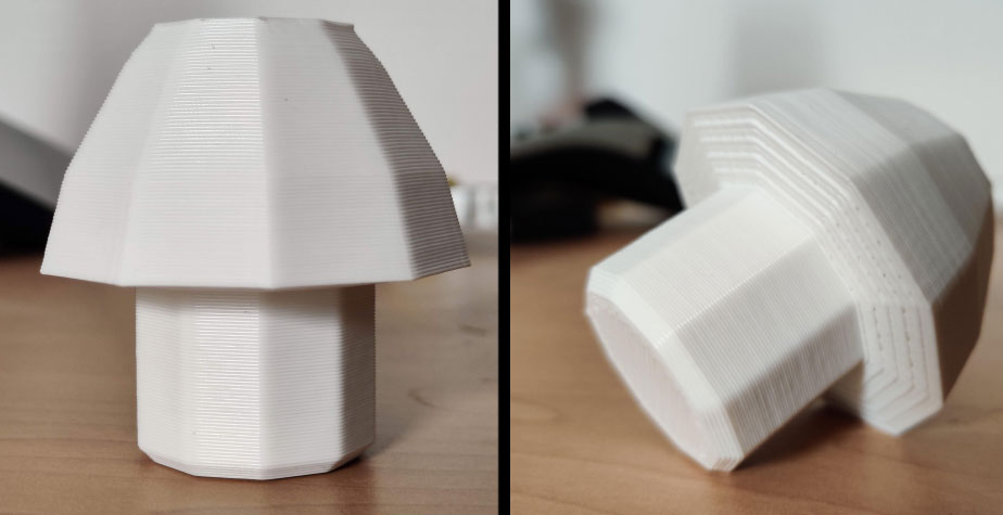 3D printed version of the mushroom