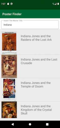 Poster Finder app showing posters for Indiana Jones movies