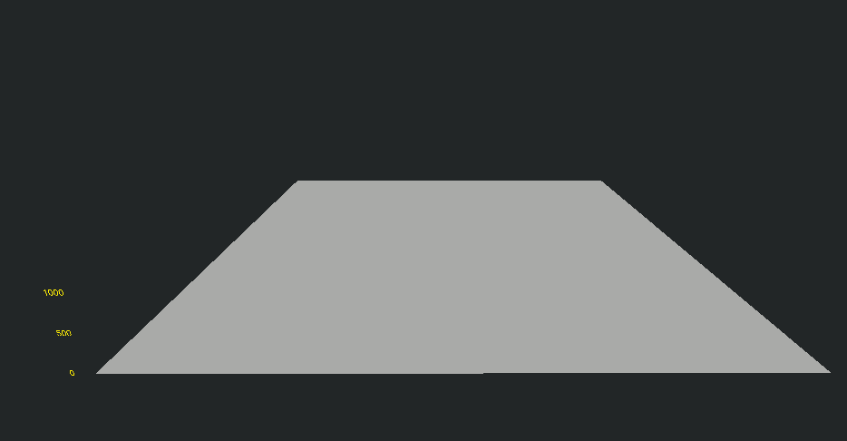A Terrain consisting of a black background with a gray trapezoid on it