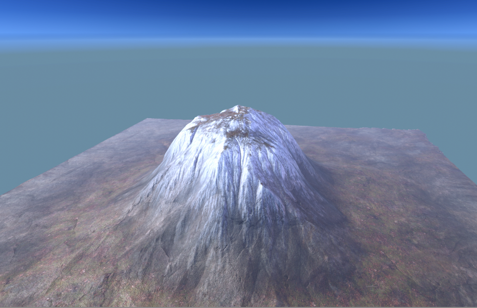 A mountain after applying splatmaps to it