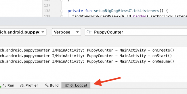 Arrow pointing to Logcat tool in Android Studio