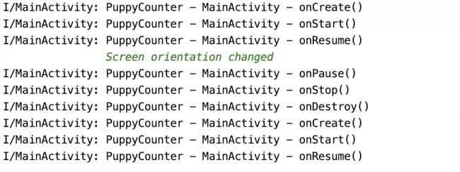 Logs showing activity lifecycle changes during screen orientation change
