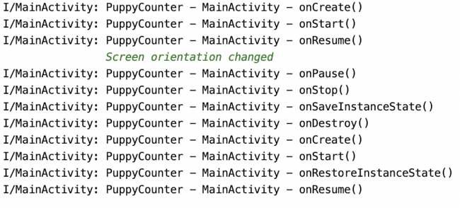 Logs showing activity lifecycle with additional callbacks when saving and restoring the instance state