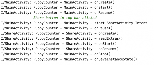 Logs showing activity lifecycle when moving from one activity to another