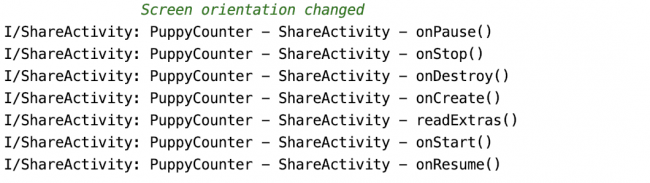 Logs showing ShareActivity lifecycle on the screen orientation change with additional log when reading extras