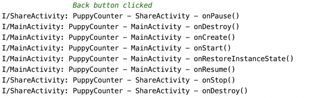 Logs showing activity lifecycle when going back from ShareActivity to MainActivity in landscape orientation