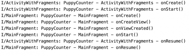 Logs showing activity and fragment lifecycle when opening Main screen implemented with fragment