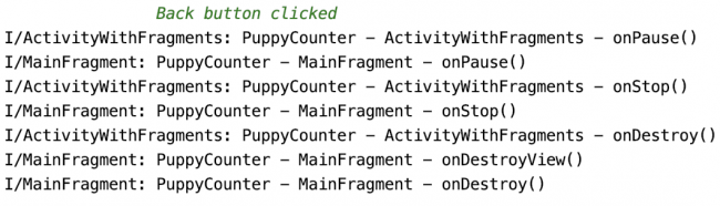 Logs showing activity and fragment lifecycle when pressing back button on Main screen