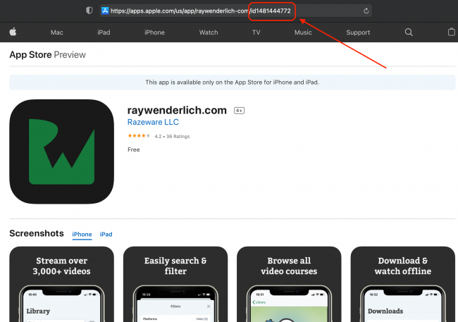 Image showing how to find the App ID for an app by searching for it in your web browser and looking at the id parameter in the url