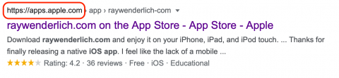 Image showing a google search result when you type in the raywenderlich.com app store in your search engine