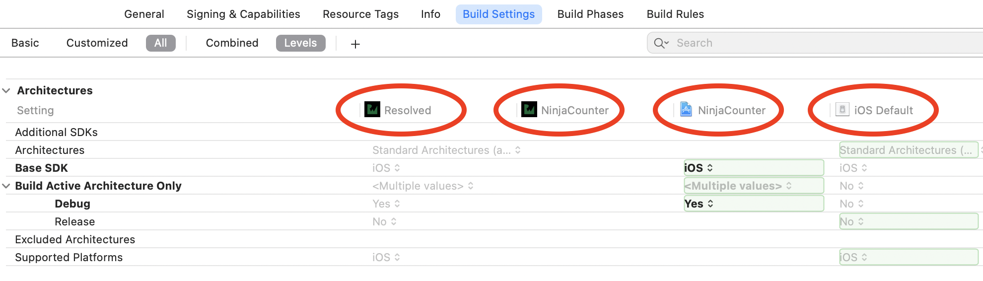 NinjaCounter app's build settings